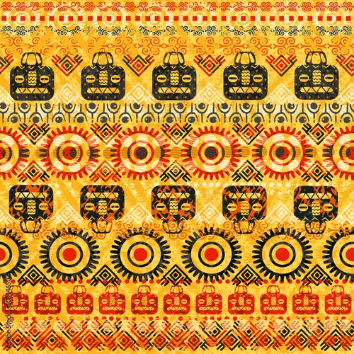 Cotton fabric Tribal seamless pattern. It can be used for cloth, jackets, bags, notebooks, cards, envelopes, pads, blankets, furniture, packing