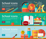 Vector flat design concepts of education. Horizontal banners with items. Back to school concepts. Icons set.