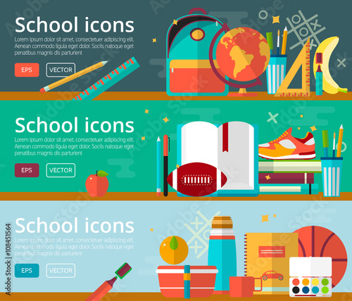 Fototapeta Vector flat design concepts of education. Horizontal banners with items. Back to school concepts. Icons set.