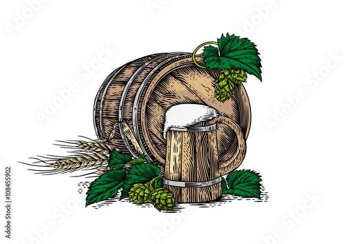 Wooden beer mug, wooden barrel, barley and hop Poster