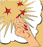 Fototapety Gestures hand, a snap of the fingers, sparks of red stars. Sketch in style pop art, comics. Call attention and information using finger. Female hand made in pop art style, gesture