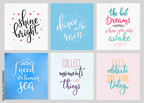 Fotobehang Positive Typography Lettering postcard quotes set