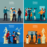 People In Museum And Gallery 2x2 Design Concept