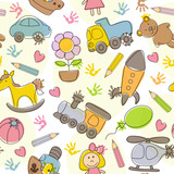 seamless pattern with  kids' drawings - vector illustration, eps