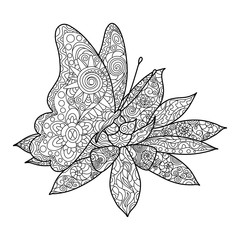 Butterfly with flower coloring book adults vector