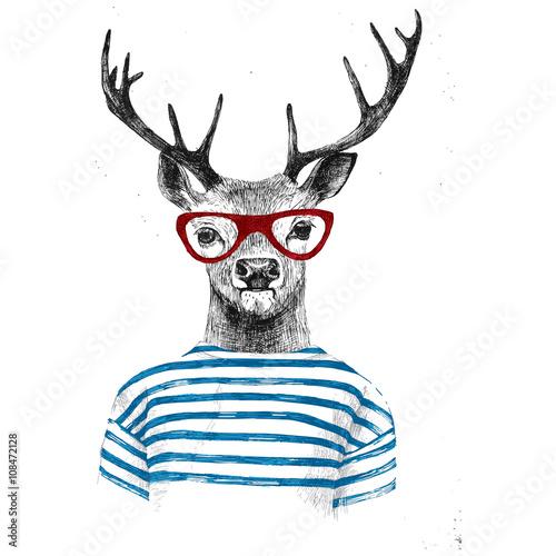 Plexiglas Hipster Hert Hand drawn dressed up deer