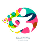 Abstract running man silhouette on multicolor dots background. Vector human logo, emblem, icon, label design elements. Concept for sports club, fitness, competition, marathon and healthy lifestyle.