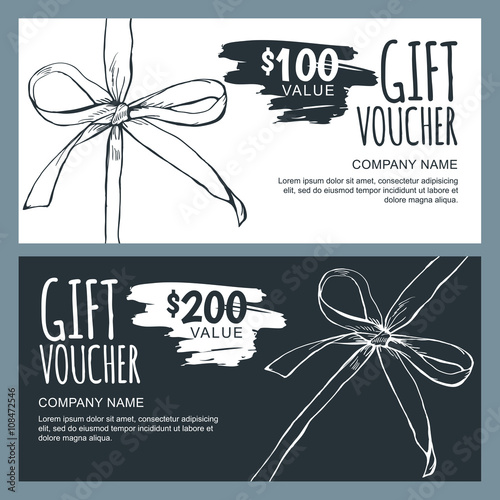 Vector gift voucher template with hand drawn outline bow ribbons vector gift voucher template with hand drawn outline bow ribbons black and white doodle holiday yadclub Gallery
