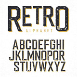 Retro typeface. Stamped alphabet, shadowed. Isolated on white - 108473579