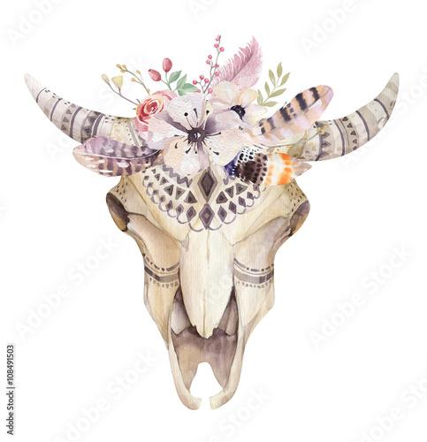 Watercolor bohemian cow skull.  Western mammals. Watercolour hip - 108491503