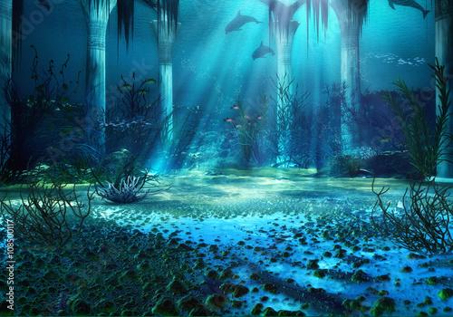 paysage-de-fantaisie-sous-marine-de-rendu-3d