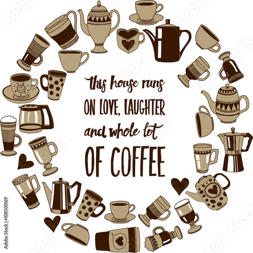 Big vector set with coffee icons