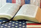 Old Holy Bible and the American Flag - 108505183