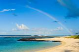 Wonderful sea beach with a rainbow in the background. Mauritius Island