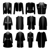Set of monochrome trendy women