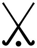 field hockey equipment black outline silhouette vector illustrat