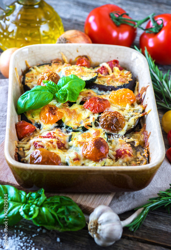 Eggplant,zucchini and tomato with mozzarella in Casserole © Daniel Vincek