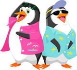 Cute cartoon penguin in summer vacation