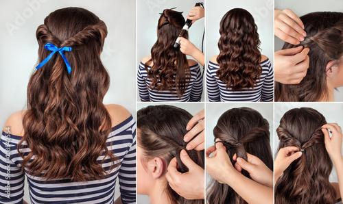 Fototapeta hairstyle for long curly hair tutorial