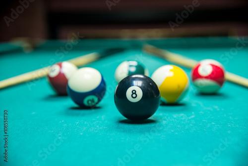 Staande foto Billiard balls pool
