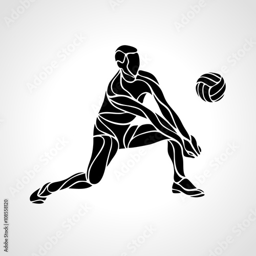 Fototapeta Volleyball player silhouette