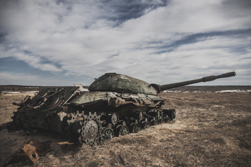 Old destroyed tank