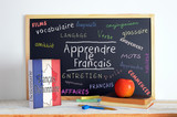 Blackboard with the message LEARN FRENCH and some text - 108561326