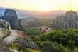 Obrazy na płótnie, fototapety, zdjęcia, fotoobrazy drukowane : amazing sunset in Meteora. Greece. panoramic landscape