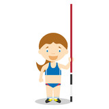 Sports cartoon vector illustrations: Pole Vault (female)