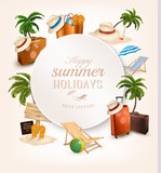 Set of vacation related icons. Vector.