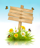 Summer nature background with grass, flowers and wooden sign. Ve