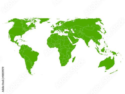 Aluminium Wereldkaarten 世界 地図 緑 アイコン