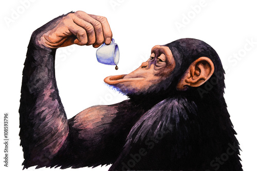 Monkey drink a cup of coffee. Watercolor illustration. - 108593796