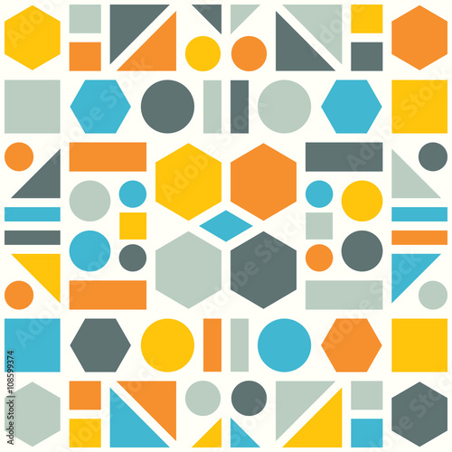 Fototapeta Colorful pattern of geometric shapes. Vector abstract background.