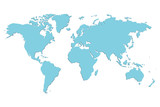 Vector blue blank world map.
