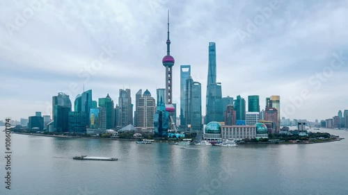 time-lapse of shanghai lujiazui finance trade zone panorama and the huangpu river at dusk © chungking