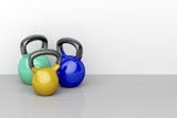 Three kettlebells