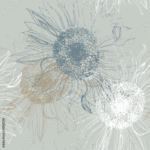 Seamless pattern of sunflowers. - 108612116