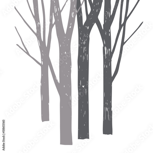 Vector silhouette of trees. - 108613160