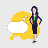 Elegant business woman vector cartoon character with cartoon empty bubble. Brunette business woman is thinking angrily about something. Disappointed woman wearing business clothing. Linear flat design