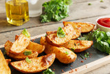 baked roasted potato wedges with herbs
