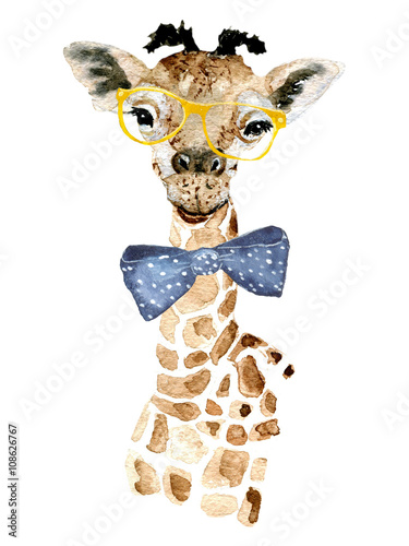 Giraffe hipster. Watercolor painting. Can be used for postcards, prints and design. - 108626767