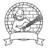 Funny musician or guitarist. Coloring book. Emblem