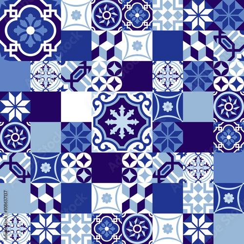 Fototapeta Ceramic mosaic background blue moroccan style