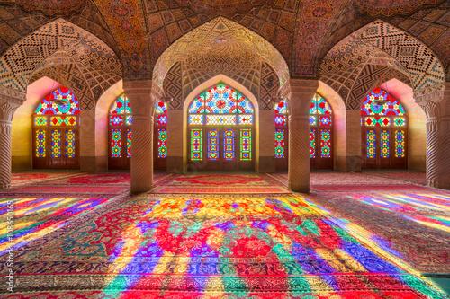 Poster, Tablou Nasir Al-Mulk Mosque in Shiraz, Iran, also known as Pink Mosque