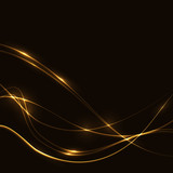 Fototapety Dark background with gold laser shine neon waves