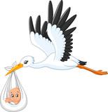 Fototapety Cartoon stork carrying baby