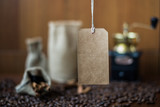 paper tag on coffee background