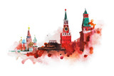 Fototapety Kremlin, Red Square watercolor drawing. Moscow, Russia landmark, historical building illustration