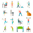 Detaily fotografie Physical Activity Flat Icons